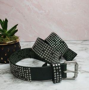 Libeskind Dark Green Leather studded belt